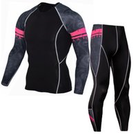 Wholesale skin tight clothes - Mens Sports Running Set Compression Shirt + Pants Skin-Tight Long Sleeves Fitness Rashguard MMA Training Clothes Gym Yoga Suits