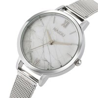 женские маленькие часы оптовых-Fashion Silver Stainless Steel Band Women's Bracelet Watches Small Dial Marble Pattern Lady Wrist Watch Casual Female Clock Gift