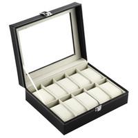 caixa de presente de luxo rectangular venda por atacado-Retângulo 10 Grades PU Caixa De Relógio De Couro Organizador De Armazenamento De Jóias Relógios Casket Titular de Exibição Presentes de Luxo