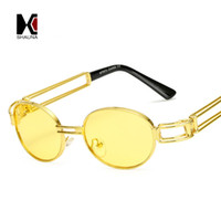 Wholesale Blue Tinted Lenses - SHAUNA Fashion Small Oval Sunglasses For Men Colorful New Retro Frames Women Red Tinted Lens Glasses