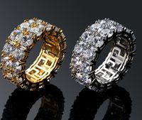 ingrosso uomini anello formato 11-Anelli da uomo Hip-Hop Doppia fila di piccoli anelli con grandi anelli CZ Stone Party Taglia 7-11