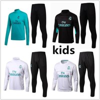Wholesale boys black jackets - Kids Real Madrid soccer Tracksuit RONALDO ASENSIO training suit jacket 2017 2018 Real Madrid kid football tracksuit suits sportswear kit