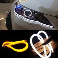 led-streifen weißes rohr großhandel-2x 12V Blinker Licht Flexible Silikon Auto LED Streifen Lichter 30cm 45cm 60cm Tagfahrlicht Schlauch AUTO DRL Blau / Weiß / Gelb