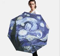 три картины оптовых-Ван Гог картины солнечные зонтики винил УФ зонтик женщины открытый солнцезащитный крем три раза зонт Оптовая индивидуальность зонтик