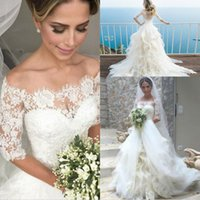 Wholesale soft elegant wedding dress resale online - Elegant Boho Country Style Off The Shoulder Wedding Dresses A Line Soft Tulle Puffy With Lace Half Sleeves Covered Button Bridal Gowns
