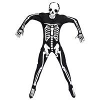 terno preto do homem-aranha dos miúdos venda por atacado-Umorden Dia Das Bruxas Purim Traje Do Partido Adulto Homem Esqueleto Assustador Esqueleto Trajes Macacão Longo Zentai Terno para Homens