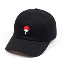 Wholesale caps logo wholesale - 100% Cotton Japanese Anime Naruto Dad Hat Uchiha Family Logo Embroidery Baseball Caps Black Snapback Hat Hip Hop for Women Men