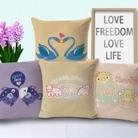 Wholesale cross stitch holder - New Pillow Case 4 Styles Hot 3D Printing Cross-Stitch Pillow Cartoon Couple Swan Love with Pillows Living Room Car Holder Pillowcase