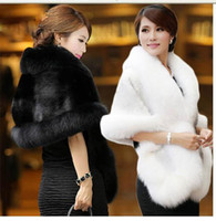 Wholesale shawl accessories for sale - High Quality Faux Fur Wedding Wraps Elegant High Neck White Black Bridal Shawls Shrugs Wedding Accessories