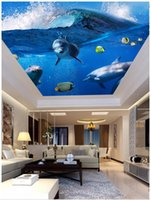 techo de pesca al por mayor-Papel pintado 3d personalizado foto mural de techo papel tapiz Mundo submarino Dolphin Fish sala de papel de pared Zenith mural wallpaper decoración