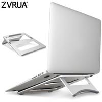 hava yastığı tutucu toptan satış-ZVRUA Dizüstü Standı Taşınabilir Tablet Tutucu Alüminyum Laptop MacBook Hava Mac Kitap Pro 120 Derece Tablet Dağı Soporte Için Standları