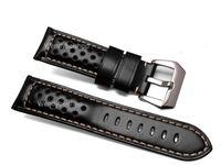 коричневый кожаный браслет оптовых-22 24 26 мм Оптовая Мужчины Женщины черный коричневый натуральная кожа ручной толстые старинные наручные часы группа ремешок ремень щеткой пряжка