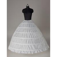 ingrosso abiti da sposa in garza-6 Hoops Bridal Wedding Petticoat Marriage Garza Skirt 2018 Crinoline Underskirt Accessori da sposa Bianco Petticoat Ball Gown