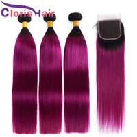 ombre malaysian purple hair 도매-레이스 클로저 2 톤 1B 보라색 스트레이트 브라질 말레이시아 버진 헤어 익스텐션 컬러 퍼플 옹 브르 직물로 Ombre 인간의 머리카락 묶음