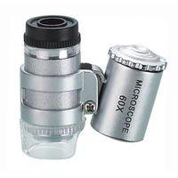 mini microscópio portátil venda por atacado-Com uma lâmpada de verificação de dinheiro Lâmpada LED 60 vezes mini microscópio portátil com lupa multifuncional