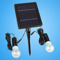 Wholesale two bulb lamp - 240LM 40 LED E27 Super Bright Solar Powered Two LED Bulbs Light Double Lamp Light for Outdoor Corridor Courtyard Garden Lamp