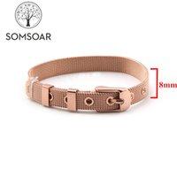 histoires de bracelet achat en gros de-Bijoux Somsoar Or Rose 8mm Large Bracelet En Maille Bracelet En Acier Stianless Bracelet fit 8mm DIY Slide Story Charms
