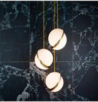 Wholesale Round Glass Lighting Pendants - Art Decor Designer Pendant moon Light Glass Ball Hanging Light Fixtures Creative Modern Round Pendant Lamp For Home Bar Decor