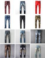Wholesale Hot Pink Jeans - New France Pierre Ripped Jeans Men Runway Biker Skinny Slim Denim Trousers Cowboy Famous Brand Zipper Designer Hot Sale Mens Designer Jeans