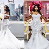vestido de noiva africano fazer venda por atacado-Sereia Vestidos De Casamento 2019 Modest Plus Size Fora Do Ombro Trumpet Vestidos de Noiva Sweep Trem Tulle Rendas Vestido De Noiva Africano Custom Made