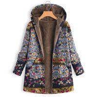 chaquetas femeninas envío gratis al por mayor-Mujeres Chaquetas de lana de invierno con capucha Zip Coat Floral Casual cálido Parka sudadera femenina abrigo Streetwear envío gratis