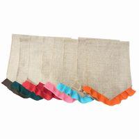 paskalya için süslemeler toptan satış-Boş Çuval Bezi Bayrak DIY Jüt Ruffles Bahçe Bayrakları Taşınabilir Boş Afiş Paskalya Bahçe Süslemeleri 14 Renkler YW321