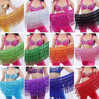 Wholesale belly dance fringe - Belly Dance Costume Shine Tassel Fringe Hip Belt Waist Wrap Skirt Dancing Costume 30pcs lot T2I334