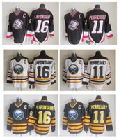 Wholesale Vintage Pat - 1984 Throwback Buffalo Sabres #11 Gilbert Perreault Vintage Hockey Jerseys White Blue #16 Pat Lafontaine Stitched Jersey C Patch