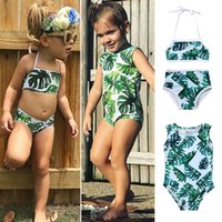 Wholesale cute baby swimwear - 2018 Swimsuit Kids Baby Girls Green Tankini Bikini Swimwear Bathing Suit Green Summer Cute Two-pieces or One-piece Set Beachwear Clothing