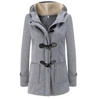 duffle coat toptan satış-Moda Sonbahar Kadın Yün Karışımı Duffle Coat Palto Bayanlar Kapşonlu Yaka Uzun Kollu Ceket Kaban Slim Fit Fermuar Dış Giyim YF158