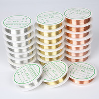 tel boncuk takı yapma toptan satış-DIY Bakır Tel Boncuk Bilezik Kolye Takı Yapımı Için Gümüş Altın Renk Tel Halat Boncuk Takı Bulma DIY Aksesuarları 30