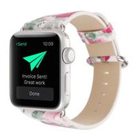 armband drucken großhandel-Blumen gemalt Stil für Apple Watch Strap Bands echtes Leder Blume Riemen Band 38mm 42mm Armbänder Blumendrucke Armband