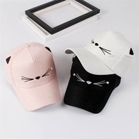 Wholesale cat snapback - Lady Lovely Cat Baseball Cap Personality Trend Women Snapback Adjustable Ourdoor Hip Hop Designer Hats Black Pink 9zy WW