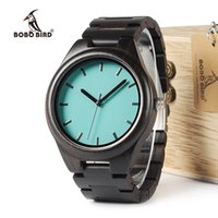 Wholesale Oem Ebony - BOBO BIRD WI21 Ebony Wooden Mens Watch Top Brand Blue Simple Wooden Band Classic Quartz Wristwatch As Gift Accept OEM Relogio