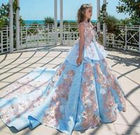 ingrosso ragazza blu vestito floreale dal merletto-Ball Gown Flower Girl Abiti Blue Lace Pink Floral con fiocco senza maniche con Corte Train abiti da spettacolo per ragazze Vestidos De Comunion