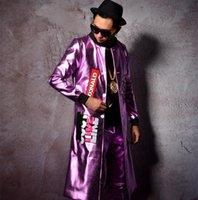 ingrosso pantaloni in pelle viola-Tuta maschile in pelle viola giacca lunga cappotto pantaloni slim pantaloni 2 pezzi imposta cantante ballerino stella spettacolo discoteca bar costumi di prestazioni DJ