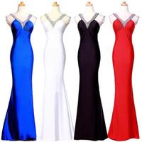 ingrosso abiti da sera in rilievo usa-Moda Red Black Blue Mermaid Prom Dresses economici 2018 con perline Paillettes Increspato Criss Cross Back Abiti da sera sexy Abiti da festa sexy USA UK