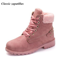 Wholesale ladies rubber boots designs - Classic zapatillas Women Martin Boots Fur Winter Warm Women Snow Ankle Boots Ladies Pink Female Rivet Design Botas Size 41