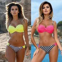 Wholesale wholesale bikini swimwear - Candy Color Striped Bikini Set Swimwear Swimsuit Bathing Suit Brazilian Swimming Suit Push Up Dots Bikini LJJO3905