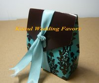 Wholesale box gifts ideas for sale - Group buy Wedding sweet box Turquoise and Brown Flourish Favor Boxes For Unique wedding ideas and Party decorations gift box