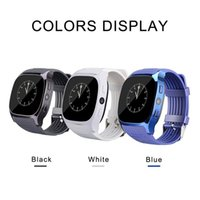 Wholesale Women Watches Used - For Android New T8 Bluetooth Smart Pedometer Watches Support SIM &TF Card With Camera Sync Call Message Men Women Smartwatch Watch