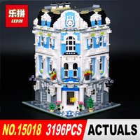 Wholesale hotels building - LEPIN 15018 3196pcs Creator City Series Sunshine hotel MOC Model Building Kits Brick Toy Compatible Christmas gifts