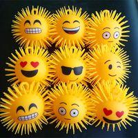 Wholesale soft led balls - Led Vent Ball Chat Emoji Design Plush Elastic Flashlight Balls For Reduce Stress Novelty Soft Kids Toys Free Shipping 2 5xf Z