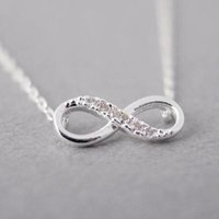 Wholesale long infinity necklace - Silver and Gold Color Tiny Infinity Crystal Pendant Necklaces for Women Choker Lucky Number Eight Geometric Silver Long Chain Necklace