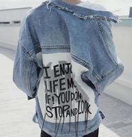 Wholesale Tassel Breast - Women Print Letter Basic Denim Jacket Coats 2018 Vintage Ripped Jeans Jacket Bf Style Chaquetas Mujer Casual Jaqueta Feminina