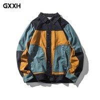 pecho japonés al por mayor-2018 Spring Japanese Retro Hit color Stitching Tooling chaqueta de los hombres flojos tendencia juvenil Ocio Solapa Breasted Coat