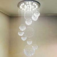 lámparas led de acero inoxidable. al por mayor-Moderno LED 3 Brillo K9 Lámparas de cristal Luces de techo de acero inoxidable cromado Lámpara de lámpara Lámparas colgantes con bombillas LED