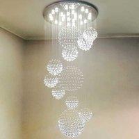 ingrosso k9 lampadari moderni-Moderno LED 3 Luminosità K9 Lampadari in cristallo Cromato Plafoniere in acciaio inox Apparecchio Lampade a sospensione Lampadario con lampadine a LED