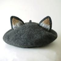 oreja de boina al por mayor-Mujeres Boina Maullido Star People Gorro de fieltro de lana Original Manual Orejas de gato Sombrero de pintor Champiñón Sombrero de regalo