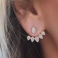 Wholesale Ear Drops Earrings Diamonds - Fashion Water Drop Stud Earrings Rhinestone Front Back Paw Double Sided Stud Earrings For Women Ear Jacket Piercing Earings